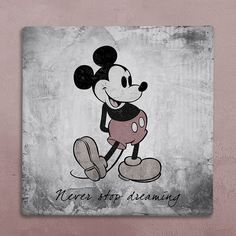 "Disney wall art canvas in vintage style mickey mouse silhouette ""never stop dreaming"" for your baby's room, living room or office"