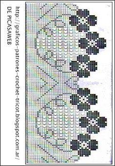 crochet fabric , CROCHET - GANCHILLO - PATRONES - GRAFICOS: PUNTILLA A GANCHILLO CON SU PATRON = PUNTILLA CON SU GRAFICO
