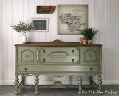 Loving this solid walnut buffet makeover by The Modern Vintage. The body was painted in General Finishes Basil Milk Paint, then distressed and glazed in a dark walnut stain. The top was stripped then stained with Early American Water Based Wood Stain. Refurbished Furniture, Paint Furniture, Repurposed Furniture, Shabby Chic Furniture, Furniture Projects, Furniture Makeover, Vintage Furniture, Green Painted Furniture, Furniture Nyc