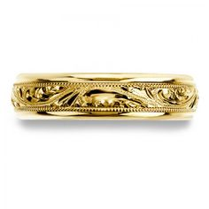 Womens Hand Engraved Wedding Band With Delicate Milgrain Special Price: $1,535.90