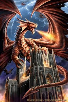 """love the film Reign of Fire and that was the inspiration behind this picture. I wanted to paint a dragon that was really massive. Having the building in this subject helps to give this sense of scale.""  --Anne Stokes"