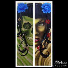 "Skull & Geisha - 13x23"" Inkjet Giclee Art Print - SD-too Gallery - Greg Bartz  - Black Anvil Tattoo Artist Print - http://shop.sd-too.com"