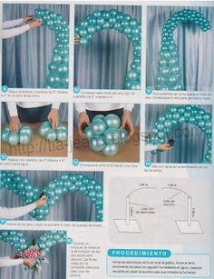 Nice heart shaped balloon arch - with step-by-step instructions (Spanish language) Ballon Arch, Deco Ballon, Balloon Columns, Balloon Garland, Deco Baby Shower, Baby Boy Shower, Ballon Arrangement, Theme Mickey, Balloons Galore