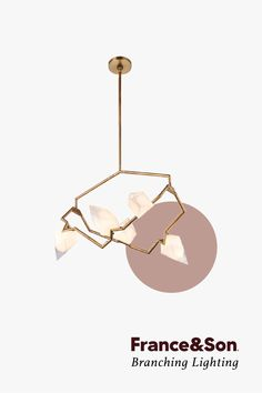A collection of modern branching lighting; each fixture features numerous bulbs that extend from the center on branch-like frames. Size: H x W x D Materials: Brass and Glass Finish: Brass, White Glass Modern Hanging Lights, G9 Led Bulb, Purple Home Decor, Lighted Branches, Shade House, Shabby Chic Kitchen, Kitchen Decor, Meditation Crystals, Tuscan Design