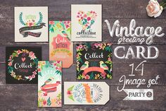 14 Vintage greeting card by Graphic Box on Creative Market