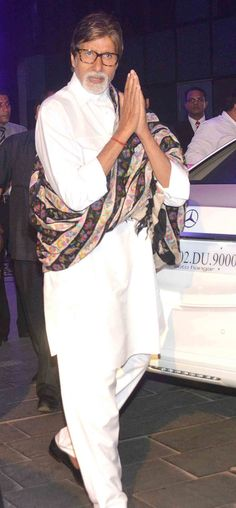 Amitabh Bachchan at Rahul Thackeray, Aditi Redkar's wedding reception. #Bollywood #Fashion #Style #Handsome
