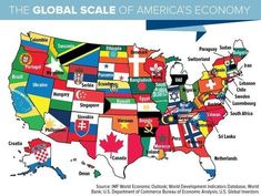 The Global Scale of America's Economy Geography Map, Mundo Comic, United States Map, Alternate History, Historical Maps, History Facts, Cartography, Science And Nature, Map Art