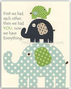 Baby room, Nursery wall art, Decor Art for Kids, elephant..Blue, Green,navy blue, aqua, first we had...