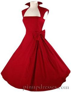 Red Retro Rockabilly Pinup Full Skirt Swing Party Dress