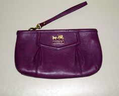 I'm auctioning 'COACH Madison Plum Purple Leather Large Clutch/Wristlet' on #tophatter