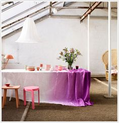 ombre. What if it was a purple tabletop and faded to white at the ground?