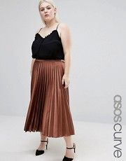 ASOS Curve | ASOS CURVE Pleated Floral Midi Skirt