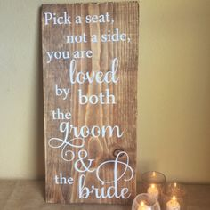 Wooden wedding sign - Pick a seat rustic wedding ceremony sign -  country chic wedding decoration- wedding seating sign -wedding saying sign by BeStillAndKnowSigns on Etsy https://www.etsy.com/listing/262777100/wooden-wedding-sign-pick-a-seat-rustic