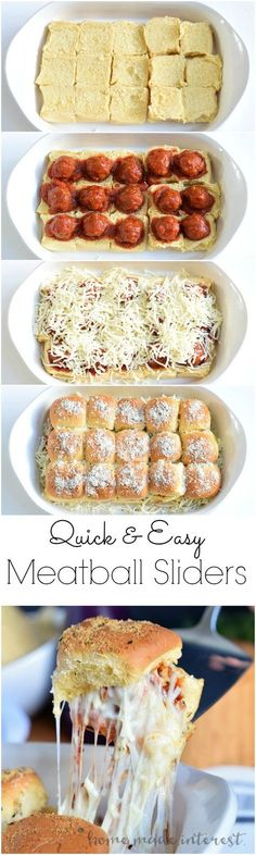 These cheesy Meatball Sliders are an easy appetizer recipe for game day. Make them for your next party!