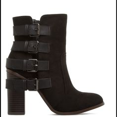NIB Black Booties These casual and stylish booties feature buckle accents and fit true to size. they have a 4 inch block heel and inner zipper closure. The shaft height is 3.75 inches. Shoes Ankle Boots & Booties