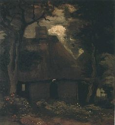 Cottage with Trees and Peasant Woman - Vincent van Gogh
