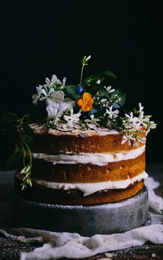 Orange Almond Cake with an Orange Blossom Buttercream
