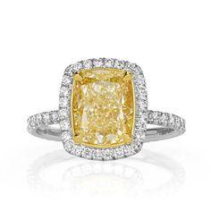 3.74ct Cushion Cut Diamond Engagement Ring Diamond Ring Settings, Diamond Rings, Diamond Engagement Rings, Diamond Cuts, Cushion Cut Diamonds, Emerald Cut Diamonds, Colored Diamonds, Diamond Trade, Jewelry