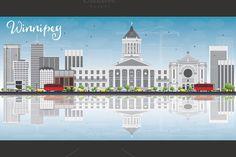 #Winnipeg #Skyline with Gray Buildings by Igor Sorokin on Creative Market