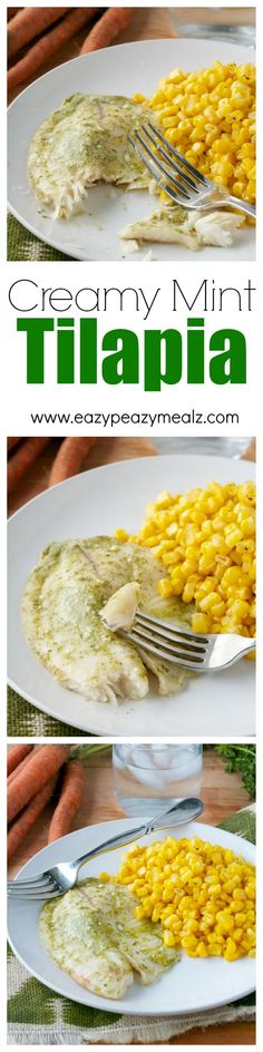 This unique and healthy tilapia offers a creamy, minty, flavor that pairs well with this perfectly cooked, and flaky fish! #ad - Eazy Peazy Mealz