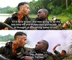 The final resting of Bubba -- Tom Hanks (Forrest Gump) and Mykelti Williamson (Bubba)