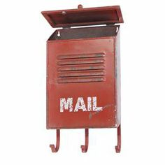 """Red metal mailbox.Product: MailboxConstruction Material: MetalColor: RedFeatures: Warmly weathered charm Three hooksDimensions: 15.5"""" H x 9"""" W x 5"""" D"""