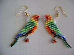 Hand Beaded Solomon Eclectus Parrot earrings by beadfairy1 on Etsy, $15.00