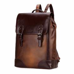 Brown Vintage Luxury Unisex Travel Backpack Casual School Bag Hiking Rucksack