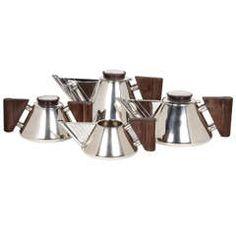 Guttierez Vega  South American Art Deco Sterling Modernist Coffee/Tea Set circa 1935