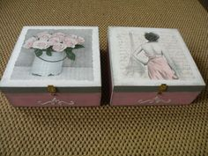 Decoupage boxes vintage Arts And Crafts Projects, Decor Crafts, Projects To Try, Diy Crafts, Decoupage Wood, Decoupage Tutorial, Tin Boxes, Wooden Boxes, Painting On Wood