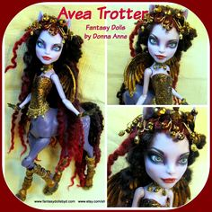 Avea Trotter OOAK Repaint Monster High Doll Monster High Doll and Barbie Doll Custom Repaints, OOAK Dolls and Doll Wigs  by Donna Anne Find me on Facebook Fantasy Dolls by DonnaAnne Shop: http://www.etsy.com/shop/fantasydolls #Monsterhigh #Monsterhighdoll #monsterhighrepaint #monsterhighcustom #monsterhighooak #custommonsterhighdoll