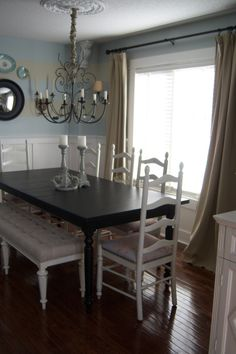 simple neutral dining room  ladder back chairs  love the matchy-matchy upholstered bench