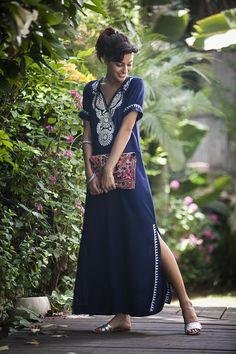 Dark Blue Kaftan Dress, Boho Moroccan Caftan, Ethnic Embroidery Maxi Dress, Hippie Abaya Oversize Women's Dress, Plus size Long Caftan Dress