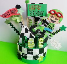 Motorcycle birthday cake topper or party centerpiece