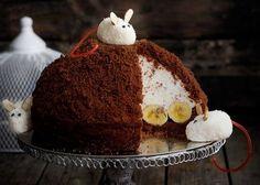 «Норка крота» - торт с бананами