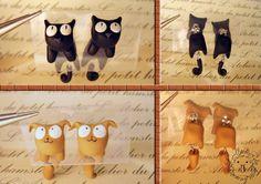 Pendientes de arcilla polimérica Perro o Gato por Handmadeteca, €8.00
