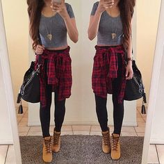 Cropped T, leggings and denim shirt