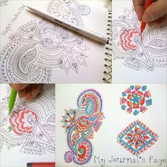 Coloring Book Style Henna Designs Inspired Drawings & Doodles. My freehand designs, patterns & drawings. These can be customized for art collaborations also