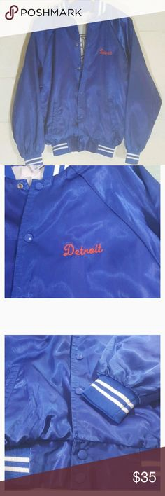 Detroit tigers baseball jacket Satin vintage jacket. Detroit Tigers Baseball. Men's jacket. Snap closure. A very small snag on collar, shown in picture. Jackets & Coats