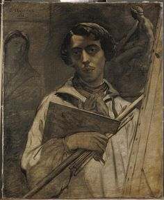 Pour Feder de Stendhal. Théodore Chasseriau, Autoportrait de l'artiste tenant une palette, Musée du Louvre © RMN