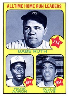 1973 Topps #1 Alltime Home Run Leaders Front