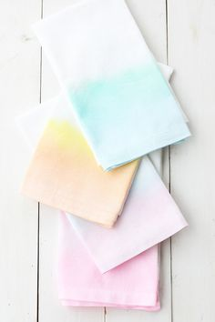 """Use fabric paint to """"watercolor"""" a set of napkins."""