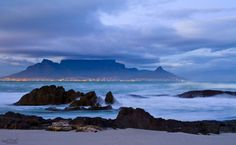 Beautiful view overlooking Table Mountain from Blouberg Beach.