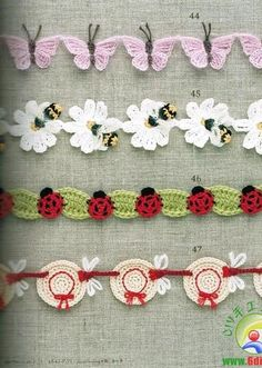 Crochet trim butterfly flower bumble bee lady bug leaves leaf hats spring bugs insects