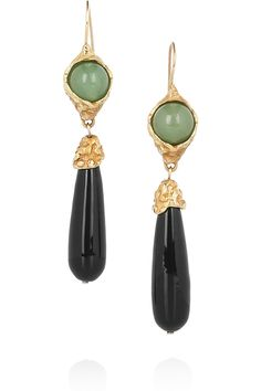 Yves Saint Laurent Jade gold-plated drop earrings - 50% Off Now at THE OUTNET