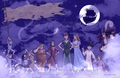 Peter Pan - the whole Neverland gang among the clouds