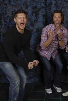 Jensen and Jared imitating fangirls