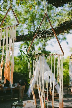dreamcatchers with a twist, photo by Amber Vickery Photography http://ruffledblog.com/late-summer-bohemian-inspiration #weddingideas #bohemianwedding #boho