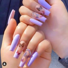 Gorgeous Simple Spring Nails Art Design Ideas You Can Try - Nail art designs Purple Acrylic Nails, Acrylic Nails Coffin Short, Summer Acrylic Nails, Best Acrylic Nails, Purple Nails, Spring Nails, Glitter Nails, Summer Nails, Gold Nail