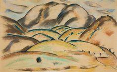"""New Mexico,"" Marsden Hartley, ca. 1918, pastel on paper, 24 x 34"", Weisman Art Museum."